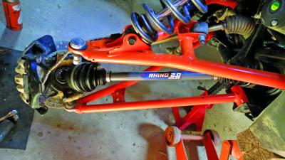 The new Rhino 2.0 axle installed, and the wheel upright ready to go back on