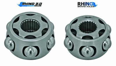 The Rhino 2.0 CV cage and bearings (LEFT) are much larger than the original Rhino axle parts (Right)